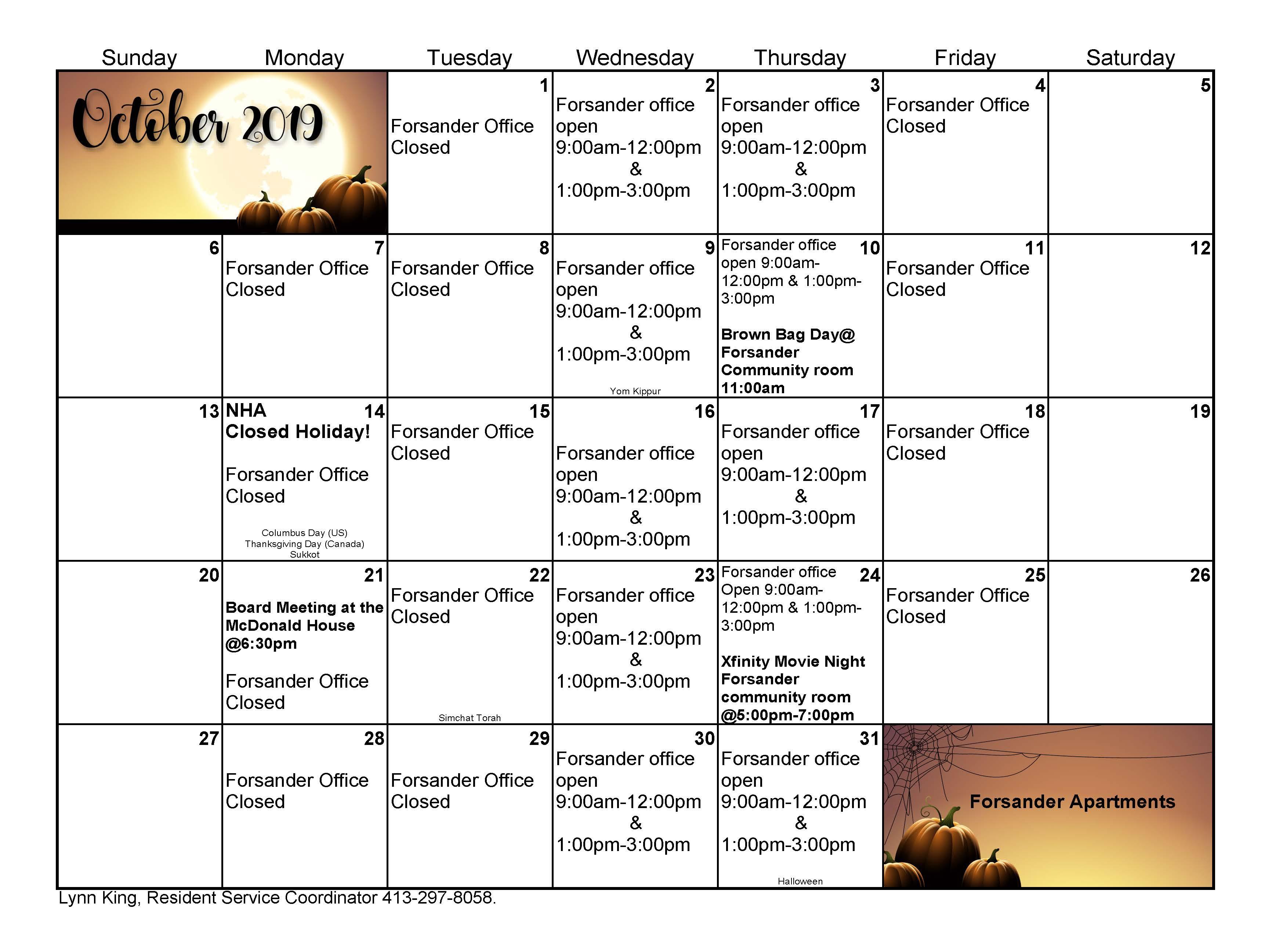 october calendar for forsander