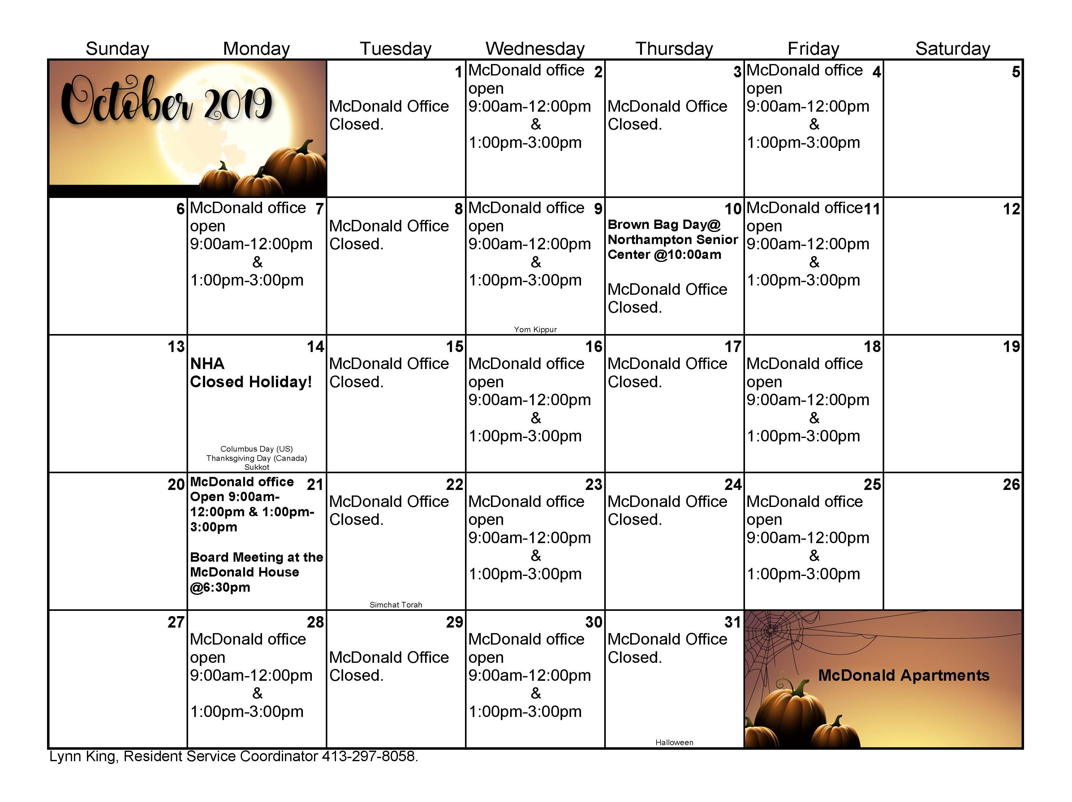october calendar for mcdonald